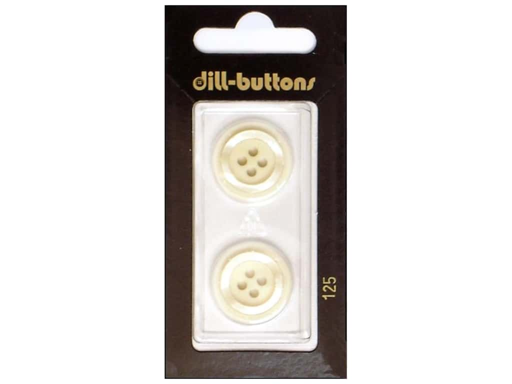 Dill 4 Hole Buttons 13/16 in. White  #125 2 pc.