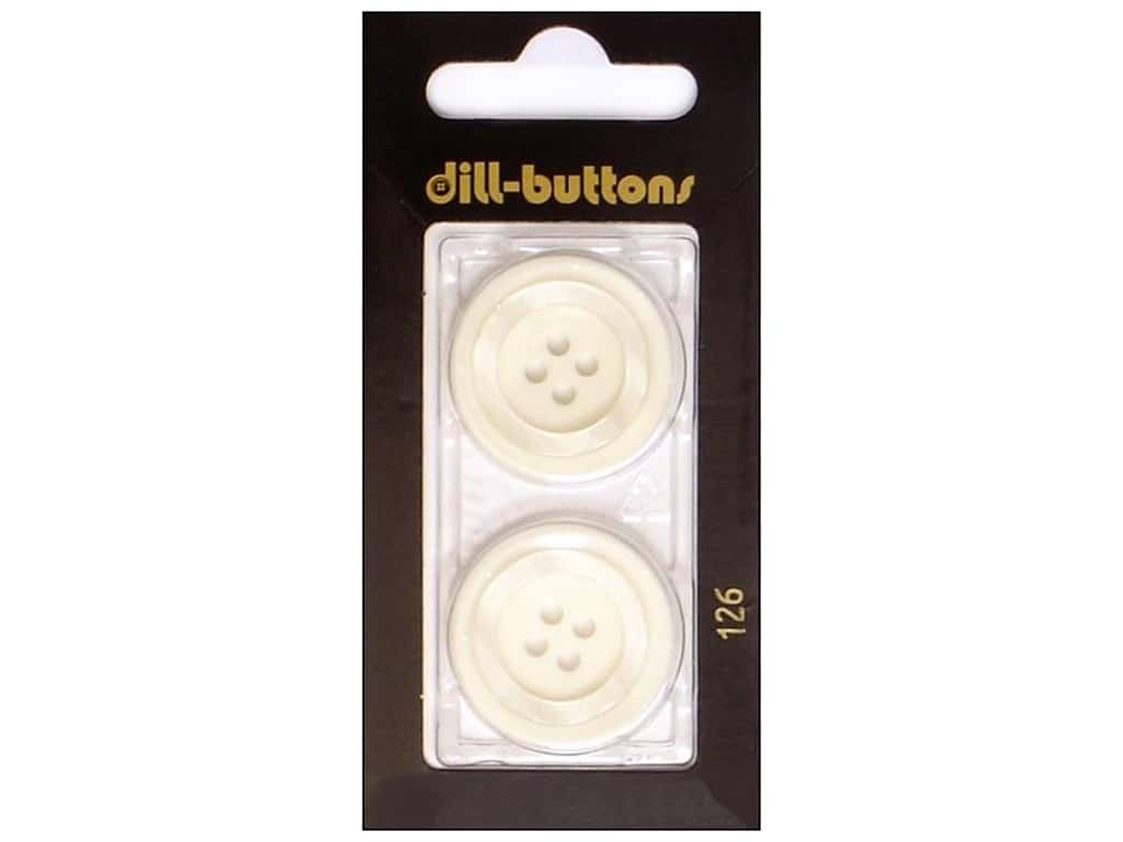 Dill 4 Hole Buttons 1 in. White #126 2 pc.