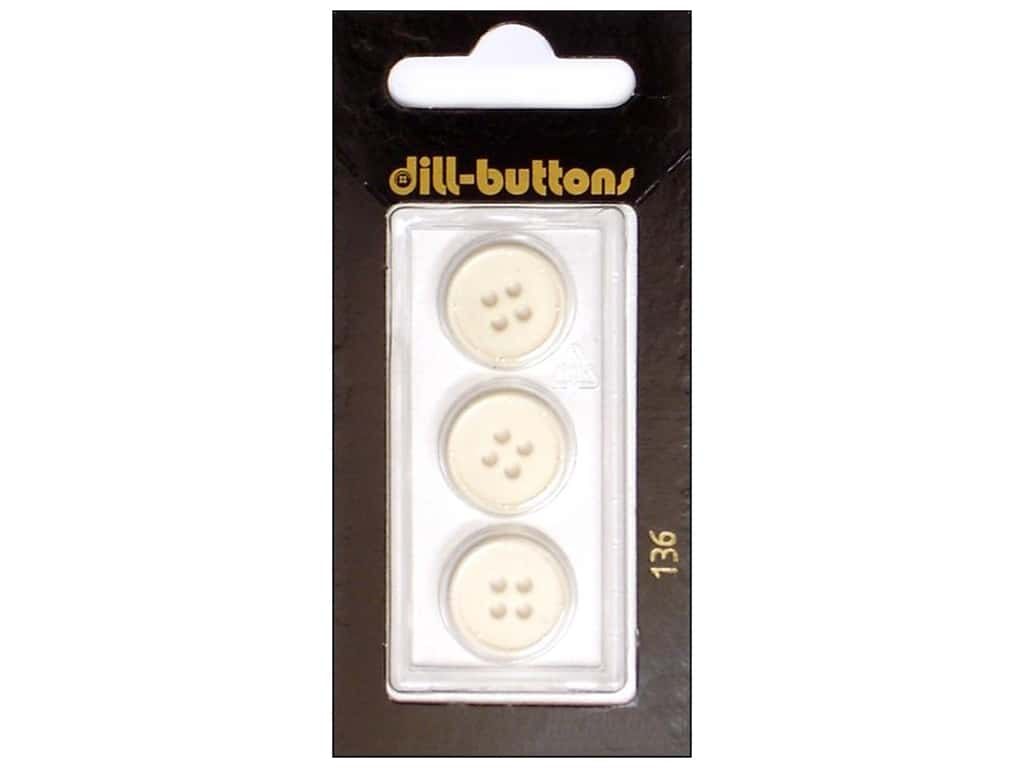 Dill 4 Hole Buttons 5/8 in. White #136 3 pc.
