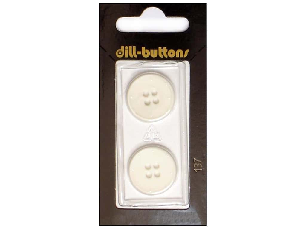 Dill 4 Hole Buttons 13/16 in. White #137 2 pc.
