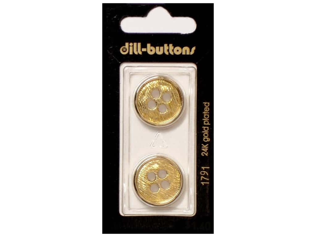Dill 4 Hole Buttons 13/16 in. Gold #1791 2 pc.