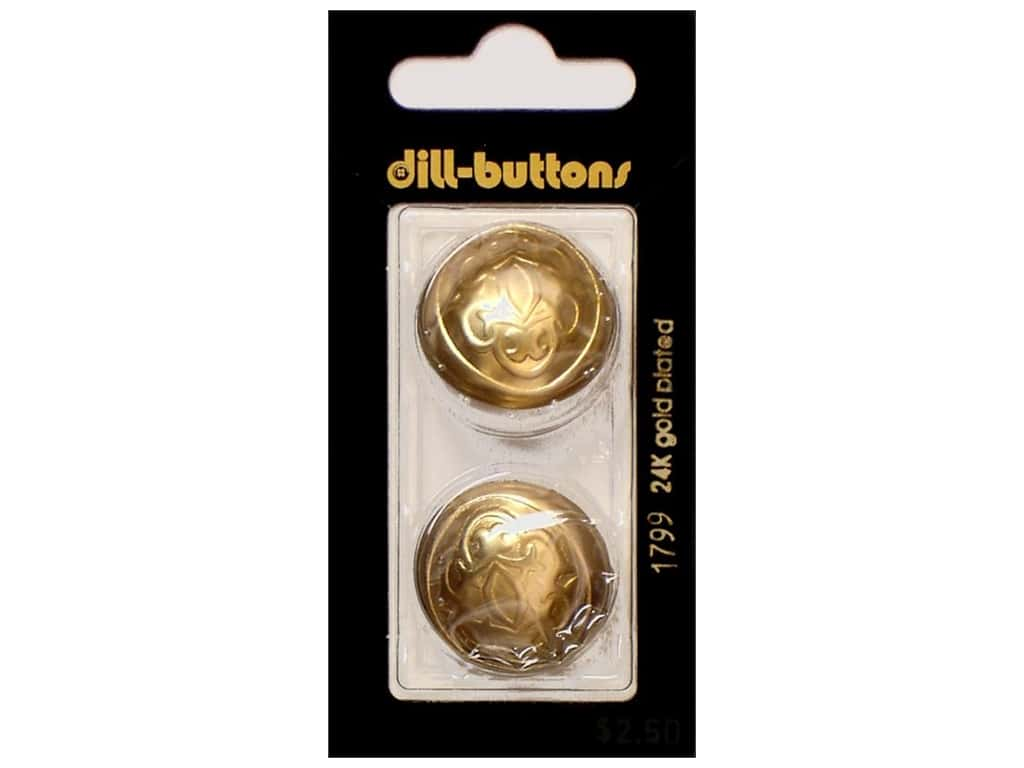 Dill Shank Buttons 1 in. Dull Gold Metal #1799 2 pc.