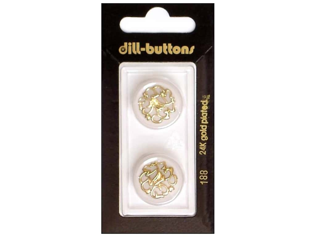 Dill Shank Buttons 13/16 in. Transparent with Gold Design #188 2 pc.