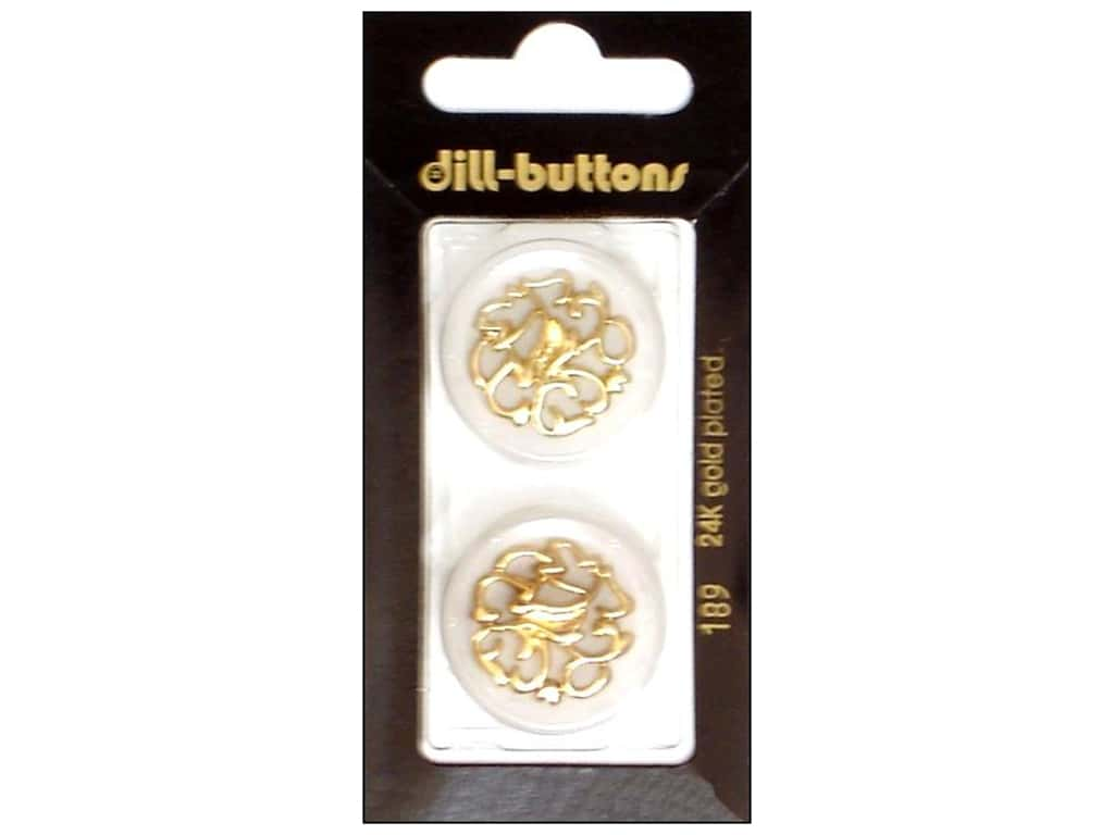 Dill Shank Buttons 1 in. Transparent with Gold Design #189 2 pc.