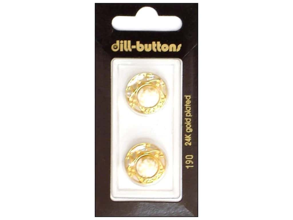 Dill Shank Buttons 11/16 in. White/ Gold Metal #190 2 pc.