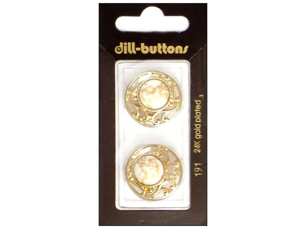 Dill Shank Buttons 7/8 in. White/ Gold Metal #191 2 pc.