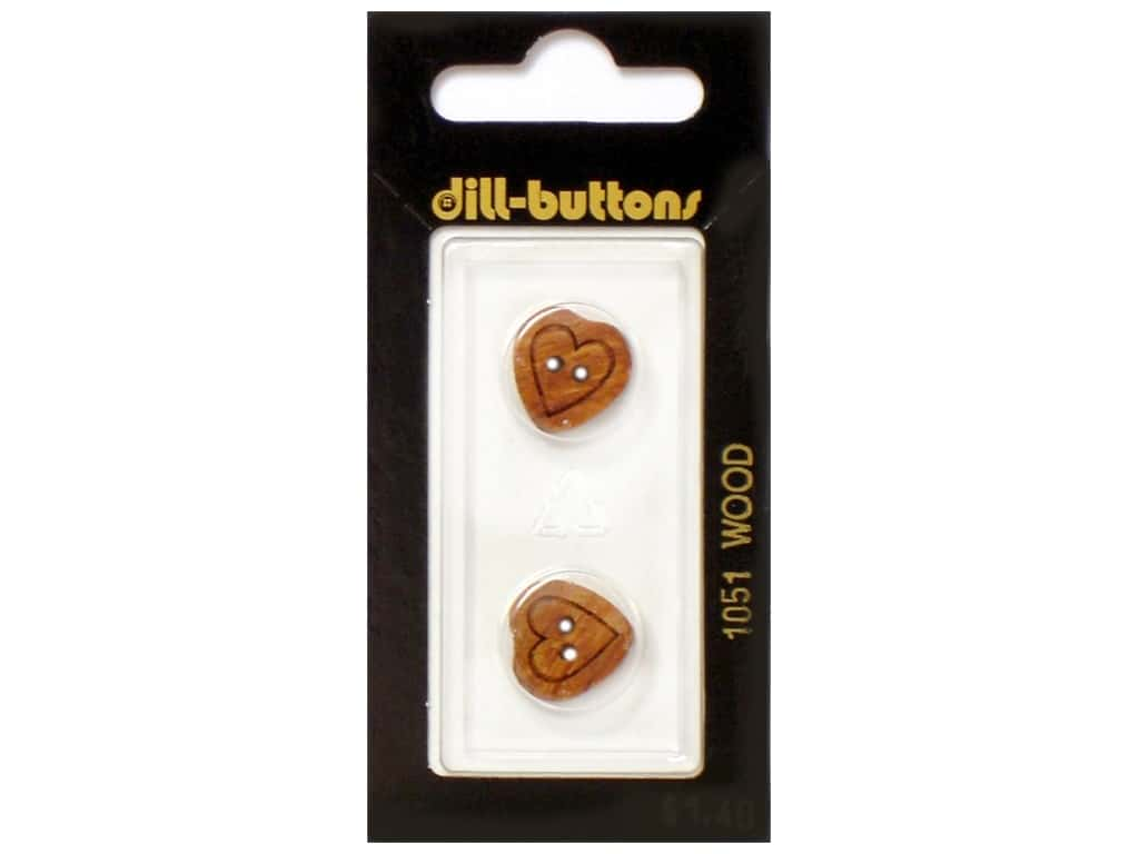Dill 2 Hole Buttons 5/8 in. Wood Brown Heart #1051 2 pc.