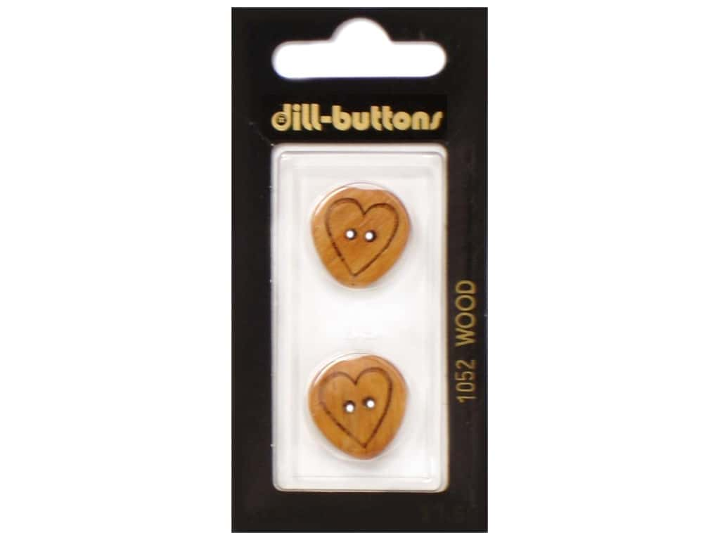 Dill 2 Hole Buttons 13/16 in. Wood Brown Heart #1052 2 pc.
