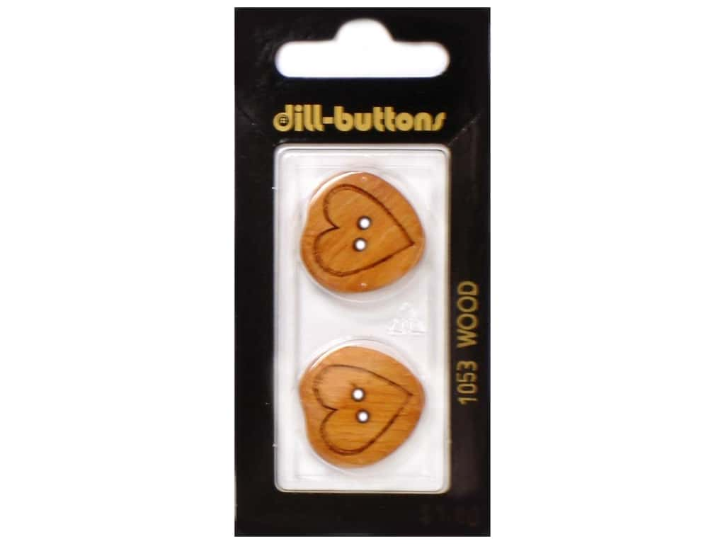 Dill 2 Hole Buttons 7/8 in. Wood Brown Heart #1053 2 pc.
