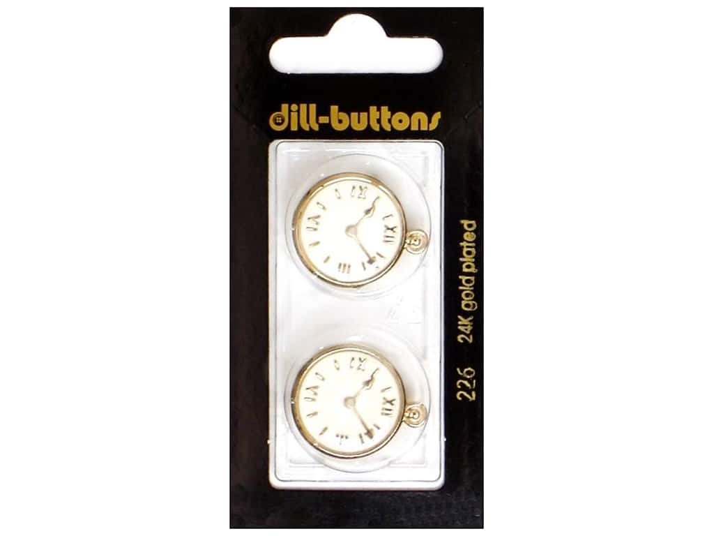 Dill Shank Buttons 13/16 in. Enamel Clock #226 2 pc.