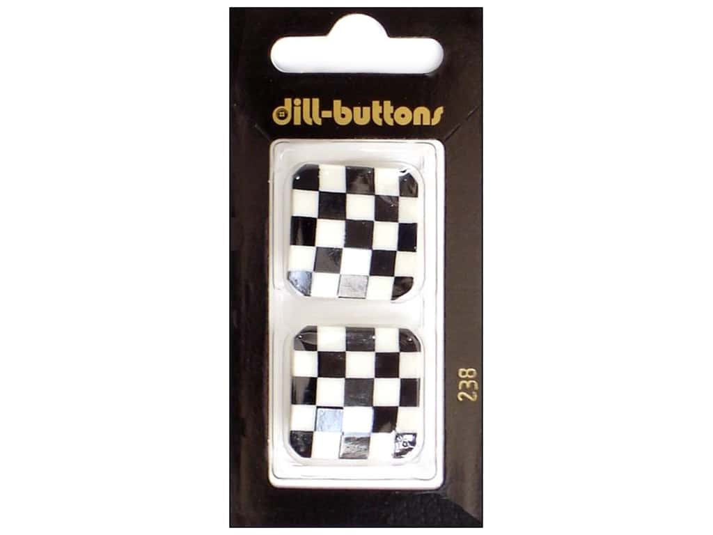 Dill Shank Buttons 1 1/8 in. White & Black Checks #238 2 pc.