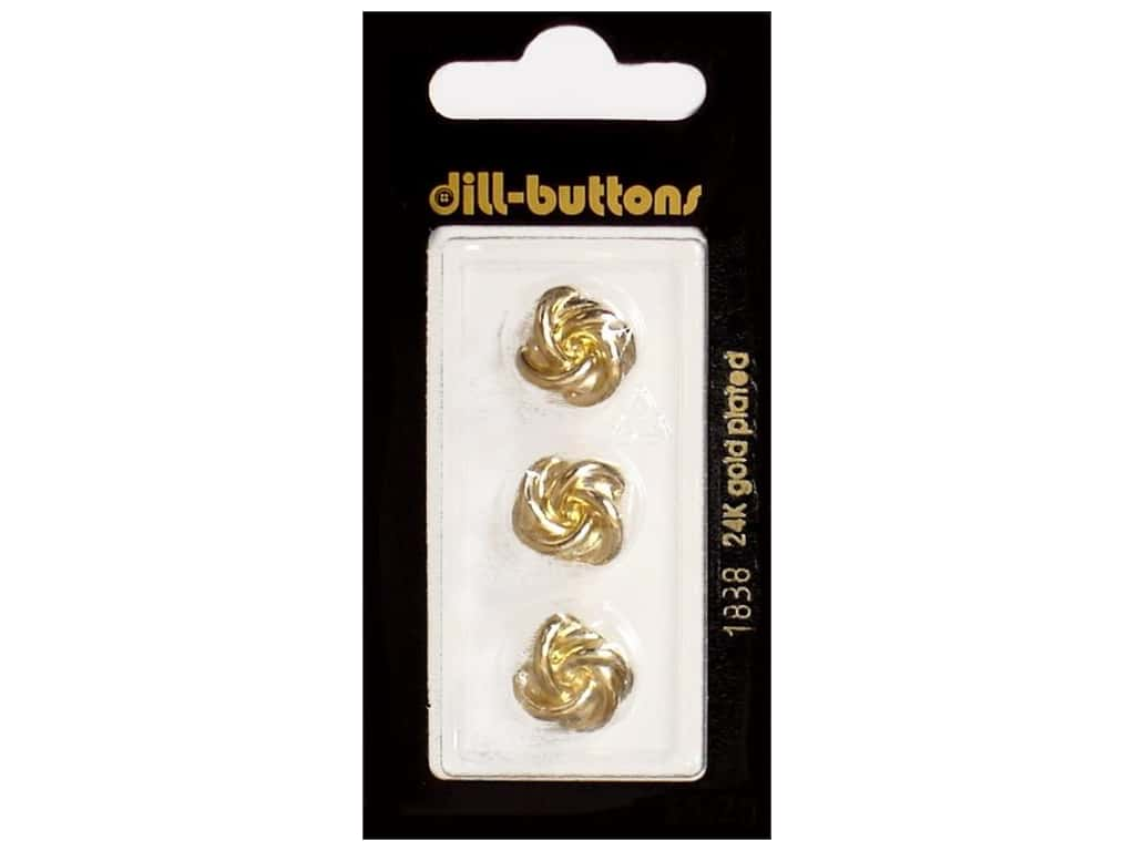 Dill Shank Buttons 9/16 in. Gold Metal #1838 3 pc.