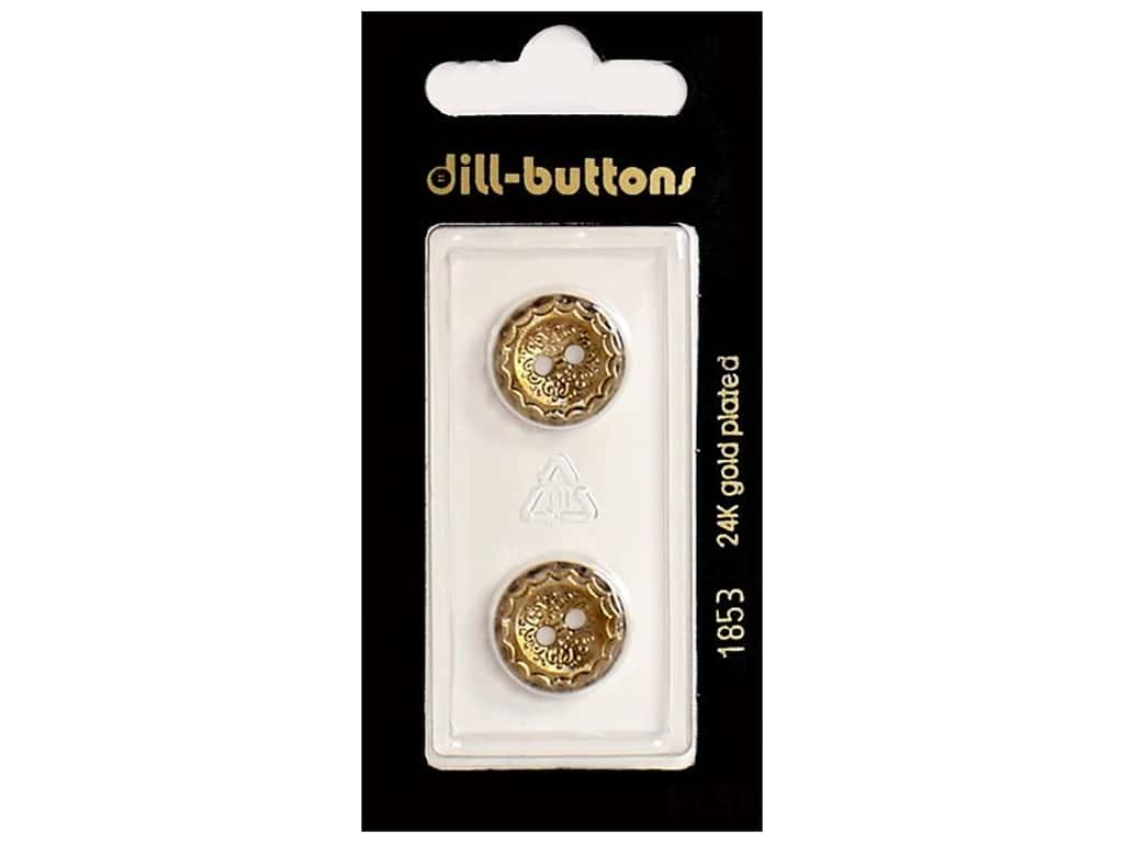 Dill 2 Hole Buttons 5/8 in. Antique Gold #1853 2 pc.