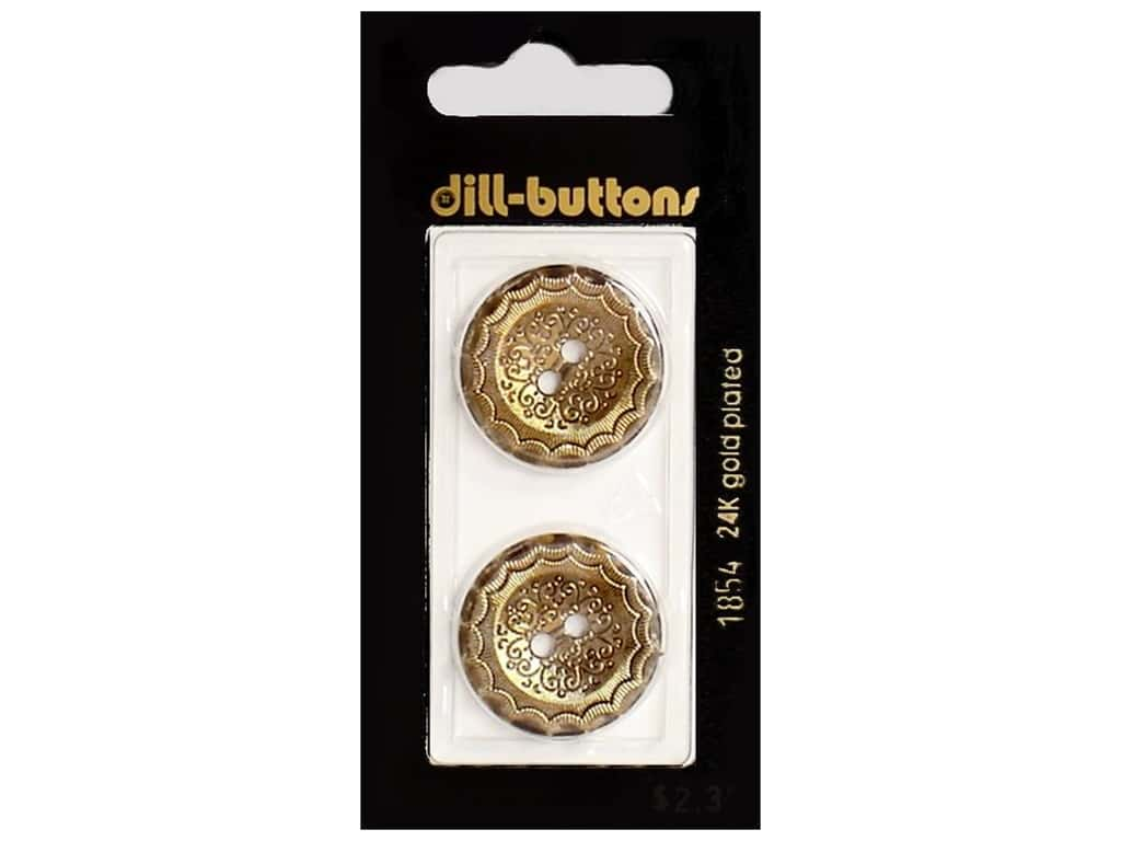 Dill 2 Hole Buttons 7/8 in. Antique Gold #1854 2 pc.