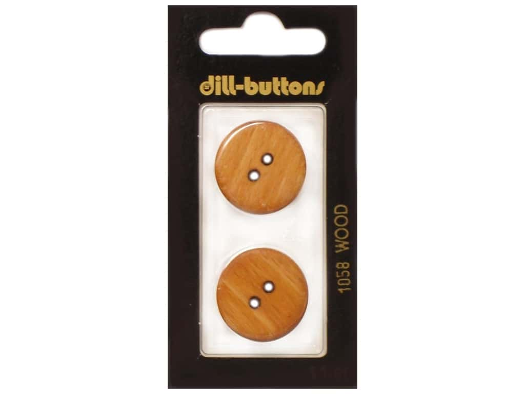 Dill 2 Hole Buttons 7/8 in.  Wood Brown #1058 2 pc.