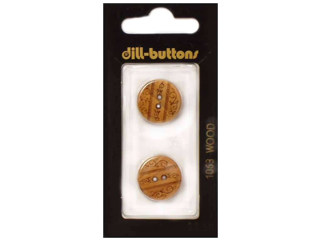 Dill 2 Hole Buttons 11/16 in. Wood Brown #1063 2 pc.