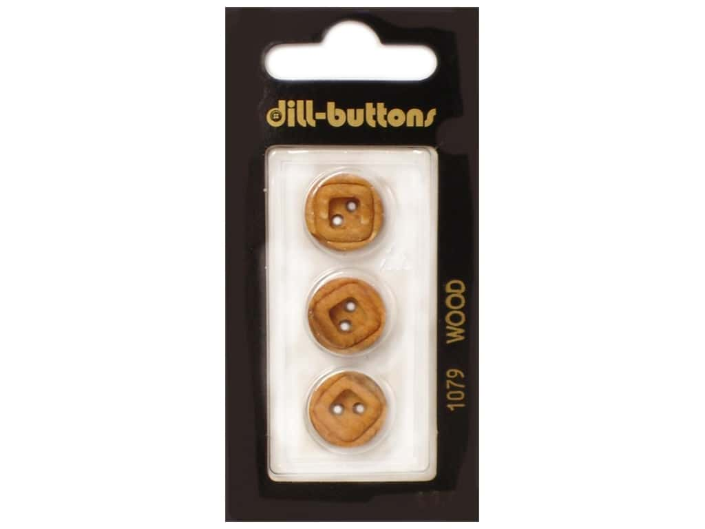 Dill 2 Hole Buttons 5/8 in. Wood Brown #1079 3 pc.