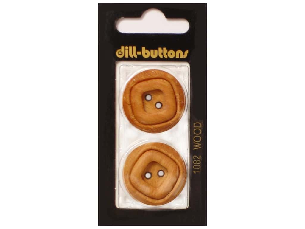 Dill 2 Hole Buttons 1 1/8 in. Wood Brown #1082 2 pc.