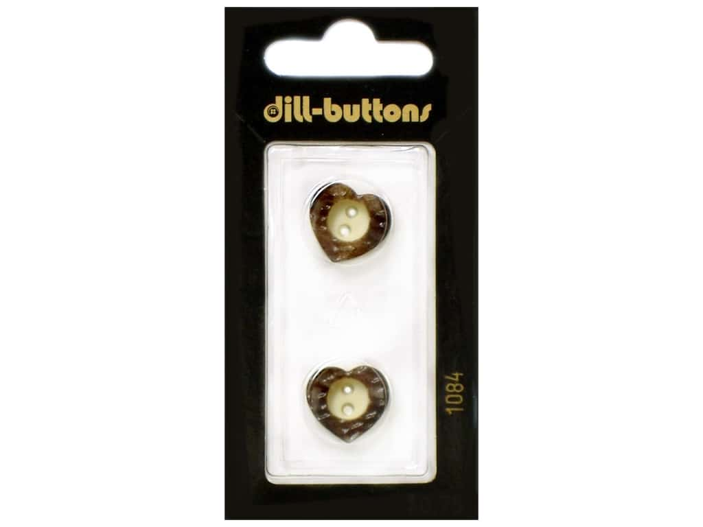 Dill 2 Hole Buttons 5/8 in. Wood Brown Heart  #1084 2 pc.