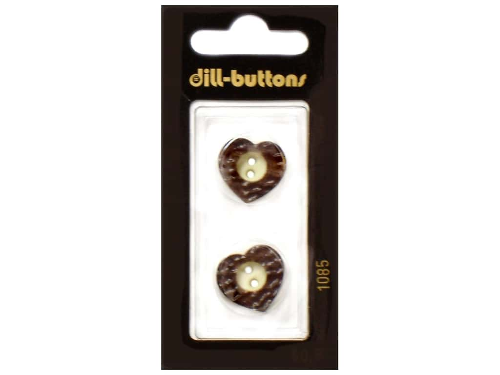 Dill 2 Hole Buttons 11/16 in. Wood Brown Heart  #1085 2 pc.