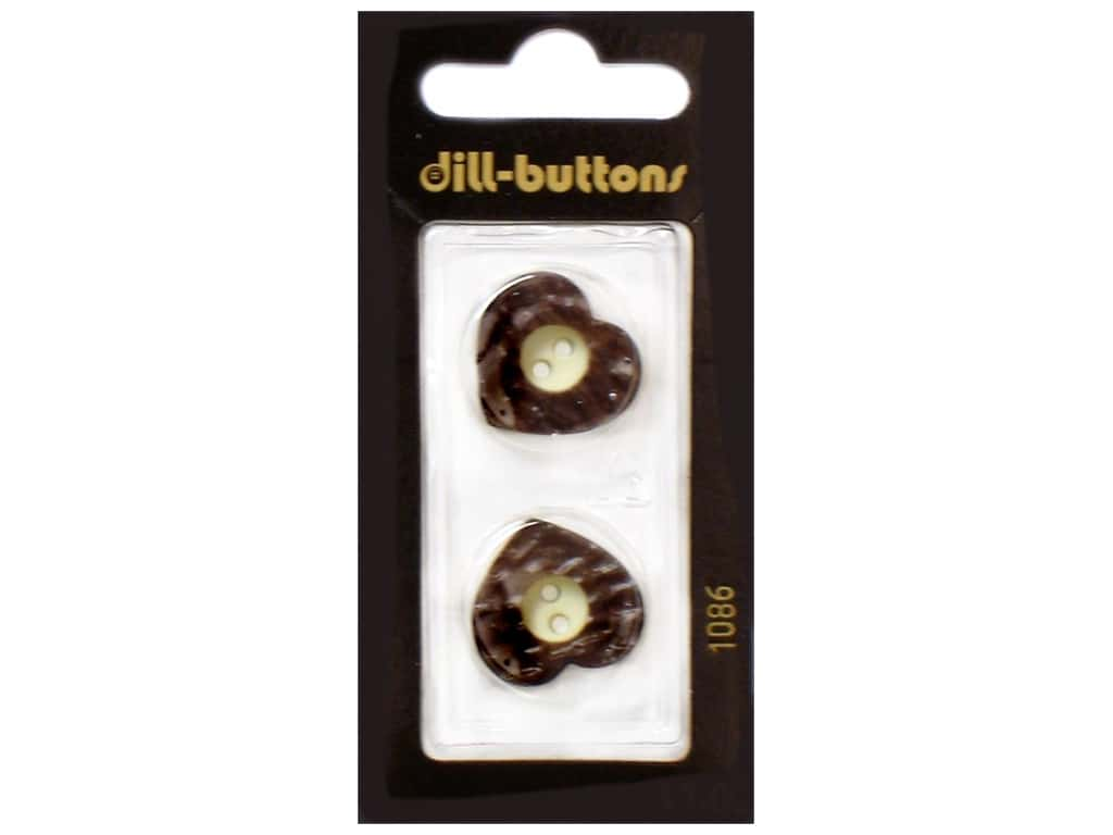 Dill 2 Hole Buttons 13/16 in. Wood Heart Brown #1086 2 pc.