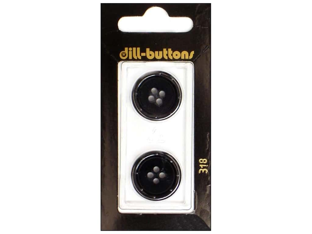 Dill 4 Hole Buttons 13/16 in. Black #318 2 pc.