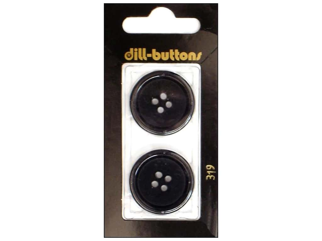 Dill 4 Hole Buttons 1 in. Black #319 2 pc.