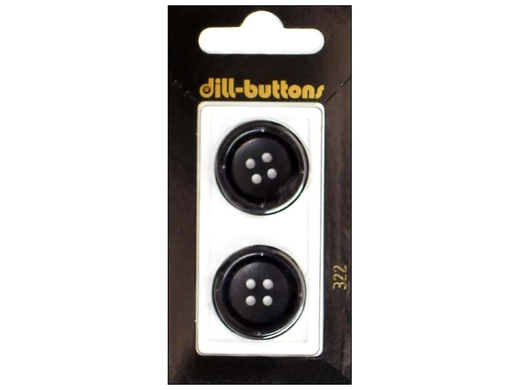 Dill 4 Hole Buttons 7/8 in. Black #322 2 pc.
