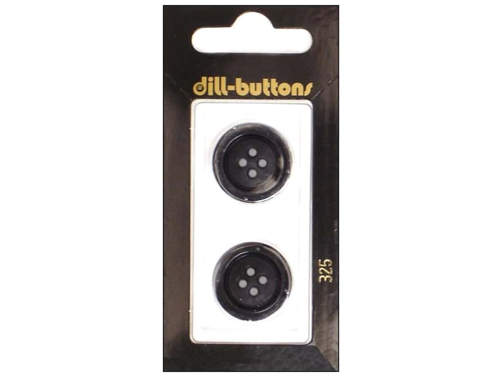 Dill 4 Hole Buttons 13/16 in. Black #325 2 pc.