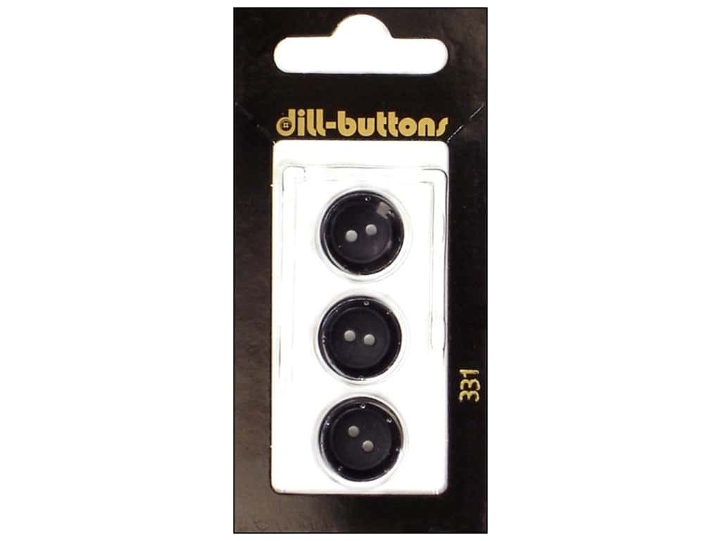 Dill 2 Hole Buttons 5/8 in. Black #331 3 pc.