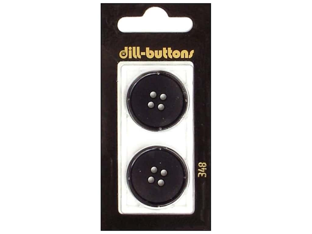 Dill 4 Hole Buttons 1 in. Black #348 2 pc.