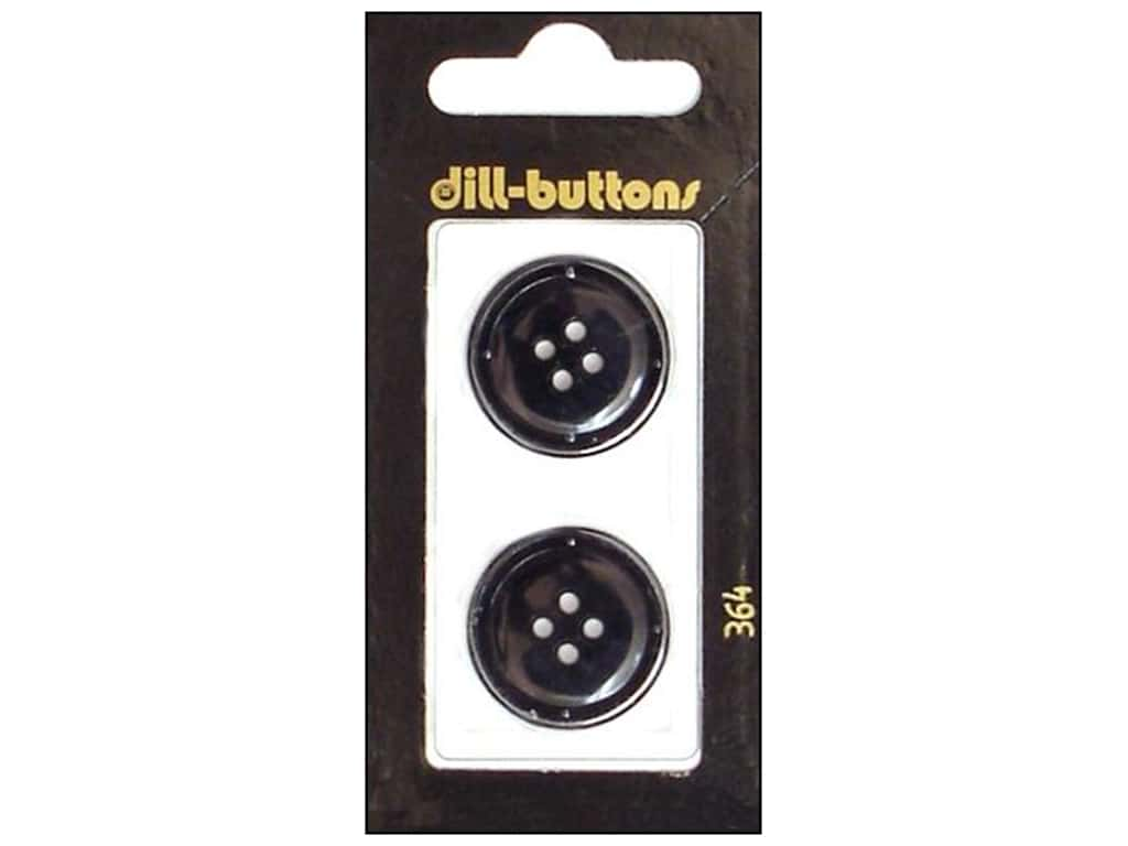 Dill 4 Hole Buttons 7/8 in. Black #364 2 pc.