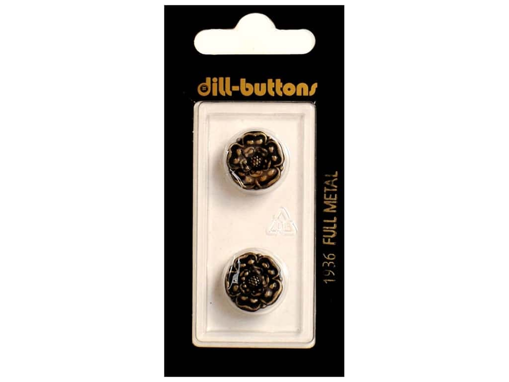 Dill Shank Buttons 5/8 in. Antique Brass Metal #1936 2 pc.
