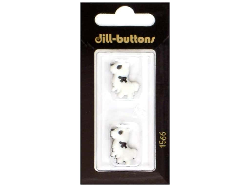 Dill Shank Buttons 7/8 in. Little Dog White/Black #1566 2 pc.