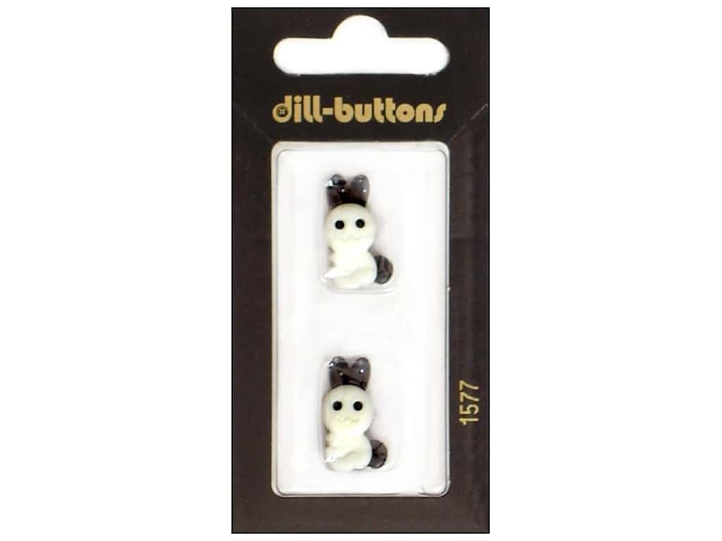 Dill Shank Buttons 13/16 in. White Bunny #1577 2 pc.