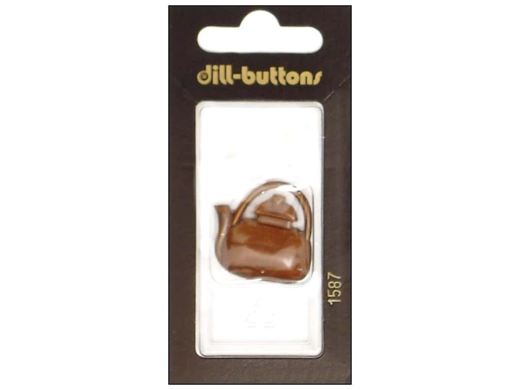 Dill Shank Buttons 1 1/8 in. Brown Teapot #1587 1 pc.