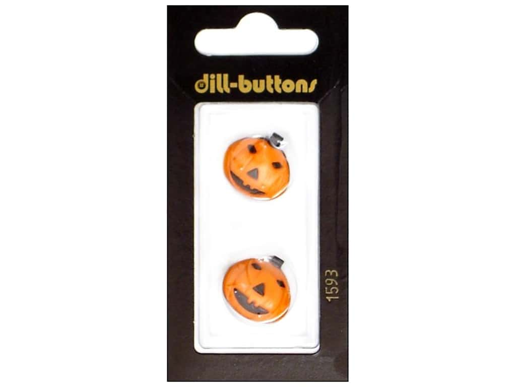 Dill Shank Buttons 11/16 in. Orange Jack-O-Lantern #1593 2 pc.