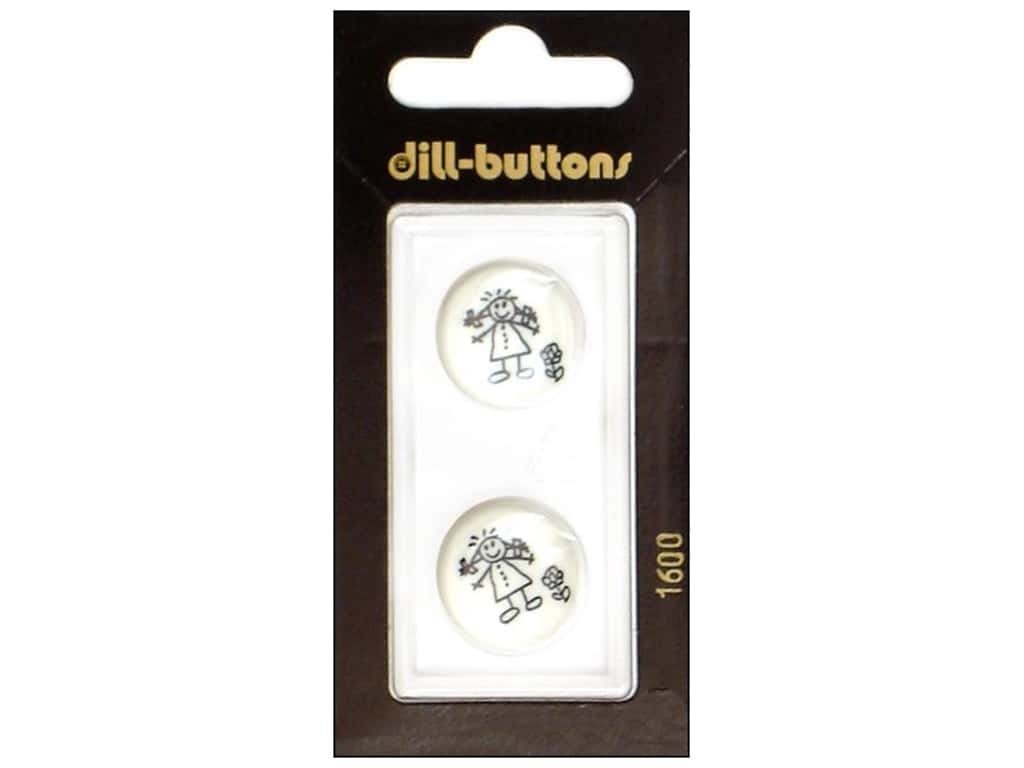 Dill Shank Buttons 11/16 in. Little Girl White #1600 2 pc.