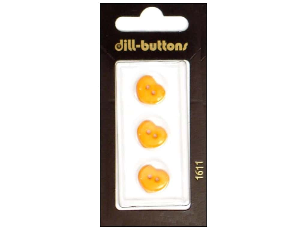 Dill 2 Hole Buttons 1/2 in. Orange Heart  #1611 3 pc.