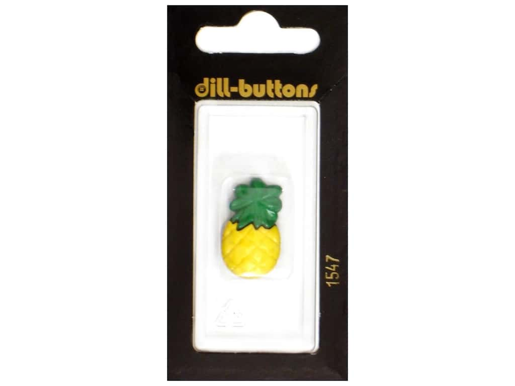 Dill Shank Buttons 1 in. Yellow Pineapple #1547 1 pc.