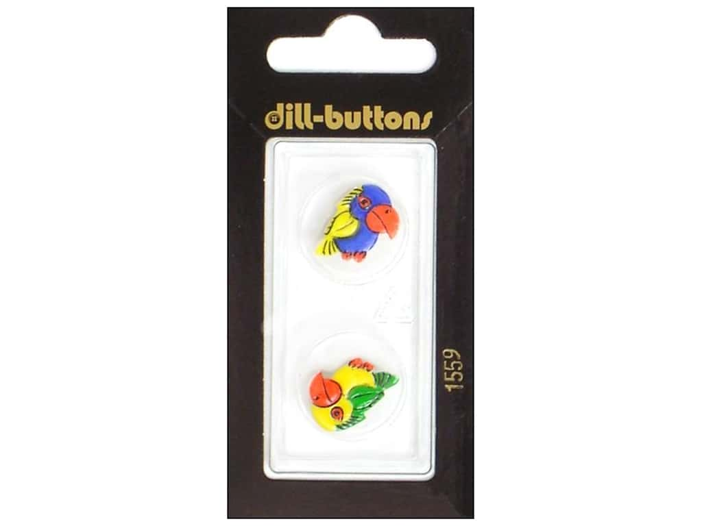 Dill Shank Buttons 11/16 in. Parrots Blue/Yellow #1559 2 pc.