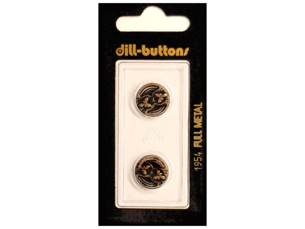 Dill 2 Hole Buttons 9/16 in. Antique Brass Metal #1954 2 pc.