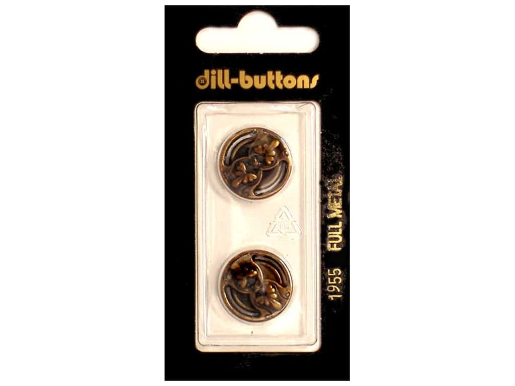 Dill 2 Hole Buttons 11/16 in. Antique Brass Metal #1955 2 pc.