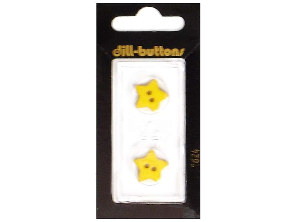 Dill 2 Hole Buttons 5/8 in. Yellow Star #1624 2 pc.