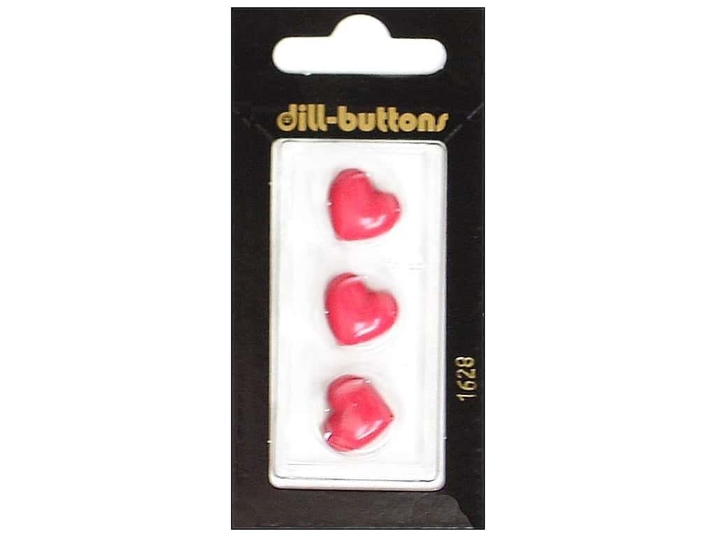 Dill Shank Buttons 9/16 in. Pink Heart  #1628 3 pc.