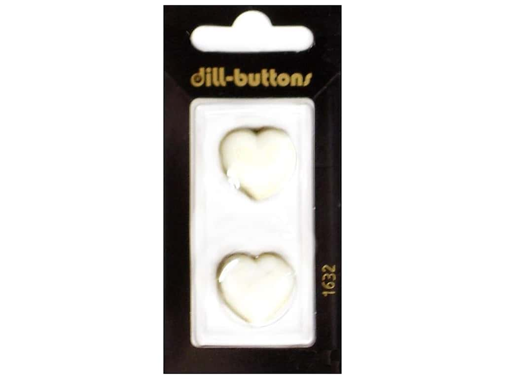 Dill Shank Buttons 13/16 in. White Heart #1632 2 pc.