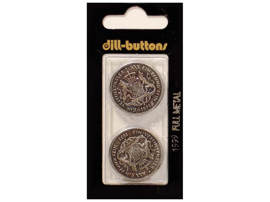 Dill Shank Buttons 1 in. Antique Silver Metal #1999 2 pc.