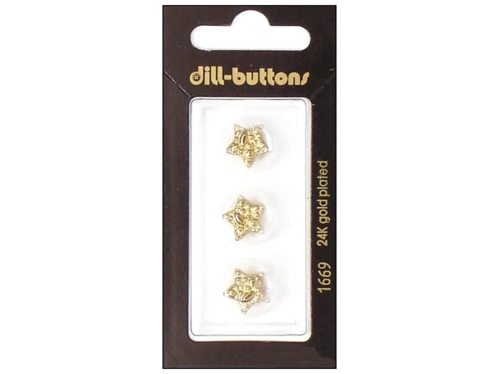 Dill Shank Buttons 1/2 in. Gold Star #1669 3 pc.