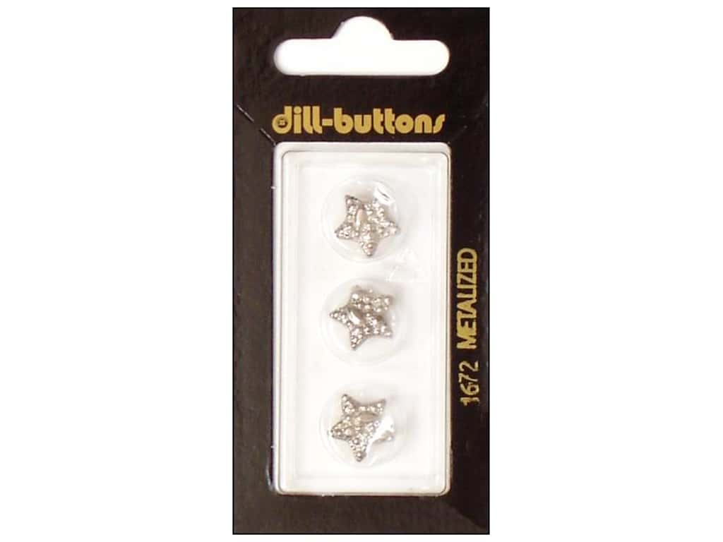 Dill Shank Buttons 1/2 in. Silver Star #1672 3 pc.