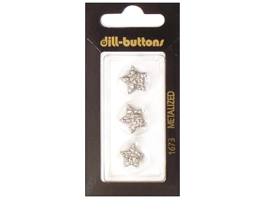 Dill Shank Buttons 9/16 in. Silver Star #1673 3 pc.